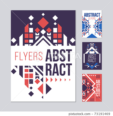 Geometric abstract flyers template. Pink presentation templates. Ethnic element design for brochure. Isolated flyer design. Flyer template. Abstract Poster 73191469