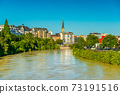 Cityscape of Villach, a small Alpine city in Austria 73191516