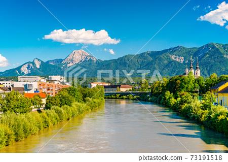 View of a small Alpine city of Villach, Austria 73191518