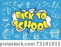 Back to school - funny pop art lettering with signs and icons 73191933