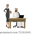 Arabic businessman working at a laptop and business woman standi 73191943