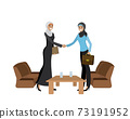Handshake of two Muslim business women wearing hijabs 73191952