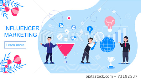 Influencer marketing concept vector for landing page. Impact on B2C customers, potential buyers or consumer products in online market, Internet communication business in trendy 73192537