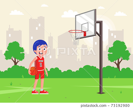 amateur basketball in the backyard. athlete in uniform with a ball. 73192980