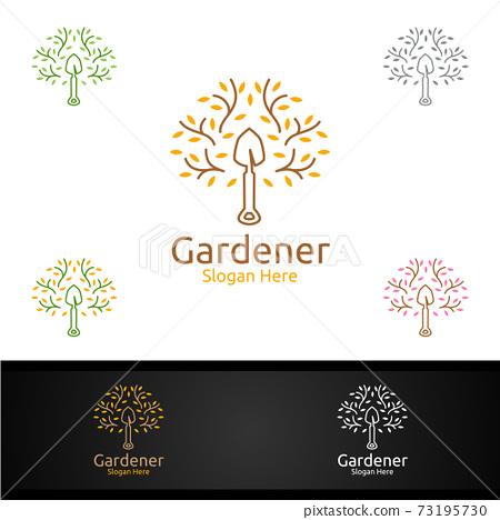 Zen Gardener Logo with Green Garden Environment or Botanical Agriculture Design Illustration 73195730