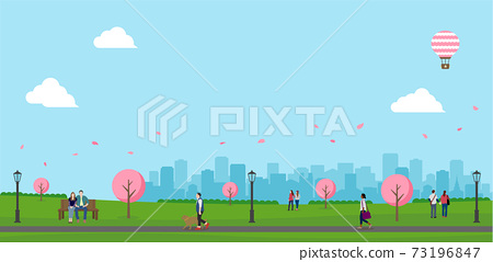 벚꽃 피는 봄의 공원 (사람들의 일상 풍경) 가로 배너 일러스트 73196847