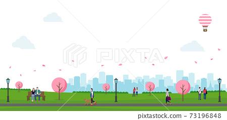 벚꽃 피는 봄의 공원 (사람들의 일상 풍경) 가로 배너 일러스트 / 흰색 배경 73196848