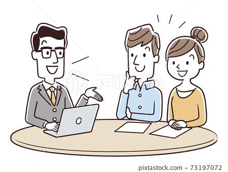 矢量圖材料:夫婦和夫妻從男職員那裡收到解釋 73197072