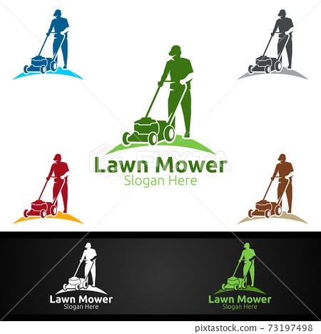 Lawn Mower Logo for Lawn Mowing Gardener Design 73197498