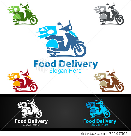 Scooter Fast Food Delivery Service Logo for Restaurant, Cafe or Online Catering Delivery 73197565