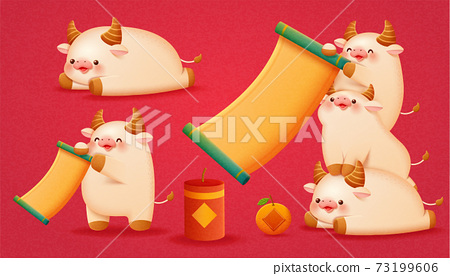White cattle animal character set 73199606