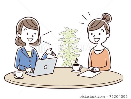 矢量圖材料:年輕女子從女職工那裡收到解釋 73204093