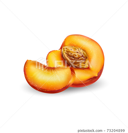 Sliced peach with pit on a white background. 73204899