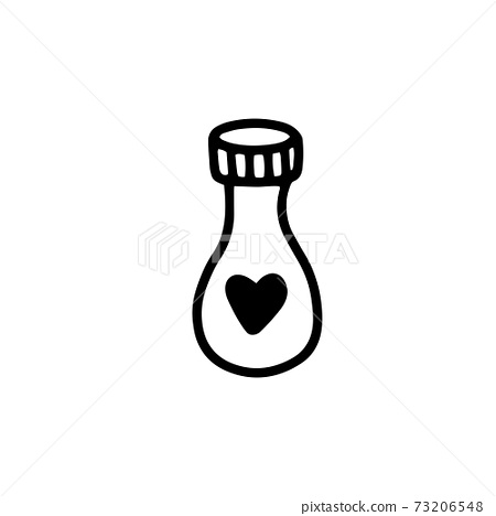 a glass bottle with a magic love potion. A magic potion. The elixir.vector illustration in doodle style. Design for Valentine's Day, Halloween 73206548