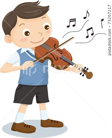 一個拉小提琴的男孩 73207217
