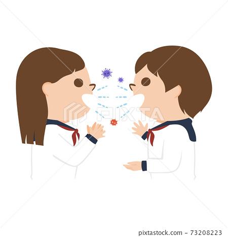 여학생의 일러스트. 가까운 거리에서 대화를하고있는 여학생 두 명. 73208223