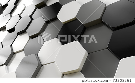 Black grey and white random positioned hexagon pattern background. greyscale abstract wallpaper, 3d render illustration. 73208261