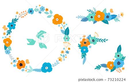 꽃과 잎의 장식 프레임 세트 손으로 그린 맛 73210224