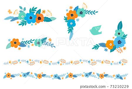 꽃과 잎의 장식 프레임 세트 손으로 그린 맛 73210229
