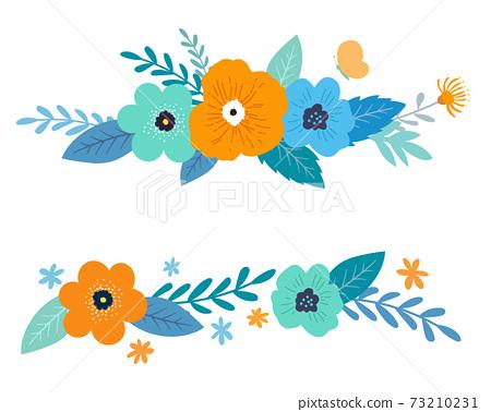 꽃과 잎의 장식 프레임 세트 손으로 그린 맛 73210231