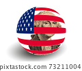 Portrait of U.S. president George Washington with USA Flag Globe 73211004