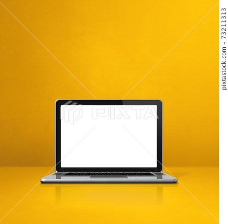 Laptop computer on red office scene background 73211313