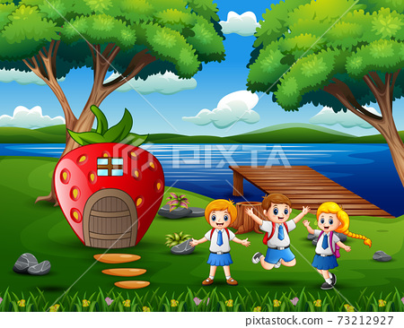 Cheerful school children near the strawberry house 73212927