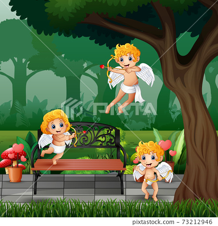Three little cupids in the park illustration 73212946