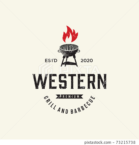 Vintage Grill Barbeque Logo Design Rustic Retro. Grill Bar Design Element in Vintage Style for Logotype, Label, Badge and other design, Fire flame retro vector illustration 73215738