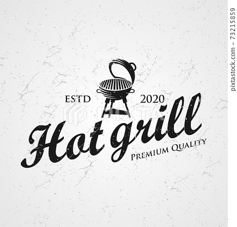 Vintage Grill Barbeque Logo Design Rustic Retro. Grill Bar Design Element in Vintage Style for Logotype, Label, Badge and other design, Fire flame retro vector illustration 73215859