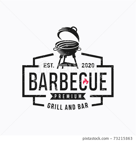 Vintage Grill Barbeque Logo Design Rustic Retro. Grill Bar Design Element in Vintage Style for Logotype, Label, Badge and other design, Fire flame retro vector illustration 73215863