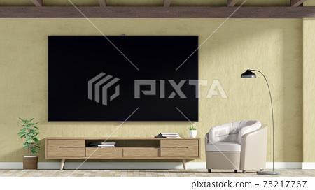 TV on cabinet in  living room, 3D Rendering 73217767