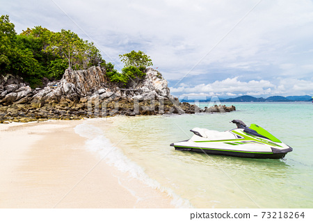 Jet Ski on the beach at Khai Nai island. 73218264