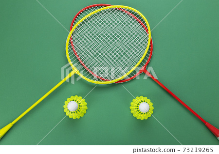 Shuttlecock and racket for playing badminton on a green background. Minimalism. 73219265
