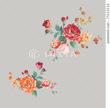 色彩豐富的花卉素材組合和設計元素 73223310