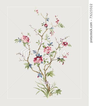 色彩豐富的花卉素材組合和設計元素 73223322