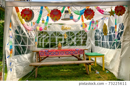 Iftar Food Table at Home outside under a party tent. Evening Meal For Ramadan. Arabic Cuisine 73225611