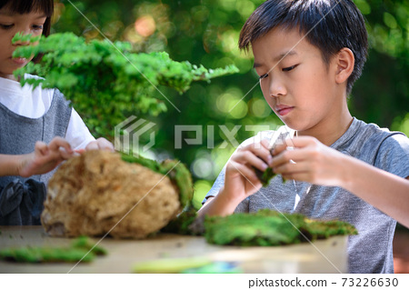 Young boy and girl make a little plant garden 73226630