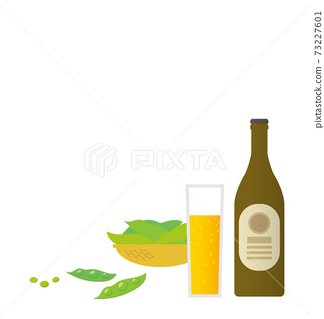 Landscape with beer and edamame 73227601
