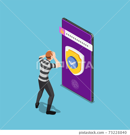 Isometric Thief or Hacker Failed to Hacking Smartphone with Security System 73228840
