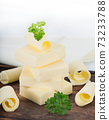 Butter pieces on white background, 73233788
