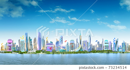 Panoramic City landscape with cloudy blue skyline over the deep blue sea. 73234514