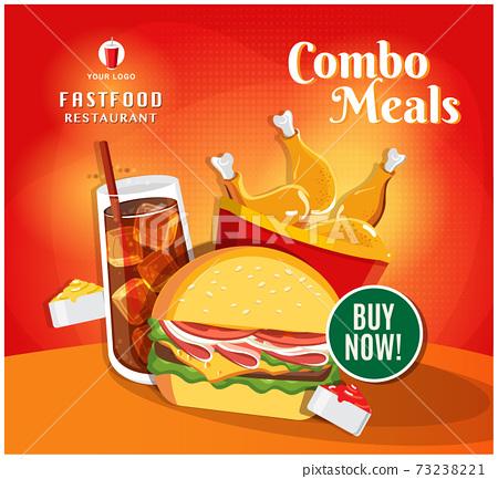 Fast food banner restaurant social media post vector 73238221