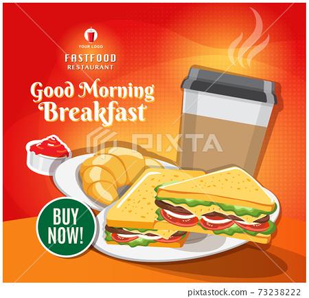 Fast food banner restaurant social media post vector 73238222