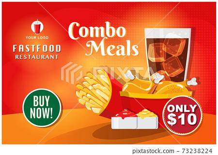 Fast food banner restaurant social media post vector 73238224