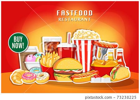 Fast food banner restaurant social media post vector 73238225