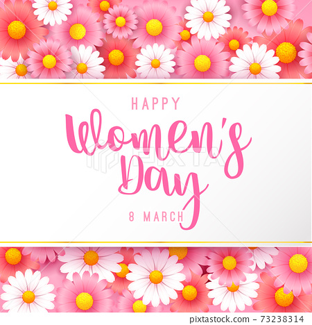 Happy women day 8 march text calligraphy with beautiful flower background 002 73238314