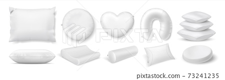 Realistic pillows. 3D round and square cushions for bed or sofa. Heart and roll shaped accessories. Feather or synthetic filling. White blank pillowcase. Interior decorations, vector set 73241235