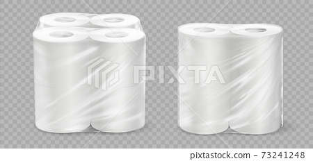Realistic paper towel. 3D tissue rolls. Textured disposable toilet tape on transparent background. Bathroom or kitchen soft absorbent accessories in cellophane packaging, vector set 73241248