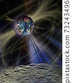 Futuristic shining light around the planet Earth from the surface of the Moon.  73243496